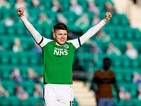 24th April 2021; Easter Road, Edinburgh, Scotland; Scottish Cup fourth round, Hibernian versus Motherwell; Kevin Nisbet of Hibernian celebrates after hibs score the second goal by Jackson Irvine of Hibernian in the 80th minute