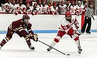 Boston, Massachusetts - October 28, 2017: NCAA Division I. Boston College (maroon) defeated Boston University (white), 4-3, at Walter Brown Arena.