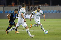 SAN JOSE, CA - SEPTEMBER 19: Marvin Loria #44 of the Portland Timbers controls the ball away from Nick Lima #24 of the San Jose Earthquakes during a game between Portland Timbers and San Jose Earthquakes at Earthquakes Stadium on September 19, 2020 in San Jose, California.