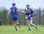Stephen Kelly and Colin Ryan celebrate Colin's goal against  Sixmilebridge during their Clare Champion Cup final at Clonlara. Photograph by John Kelly.