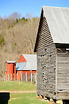 Blue Ridge Mountains. Barn and corncrib at Creekside Farm early Spring.