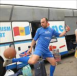 Andrei Paius, moldavo, ritratto alla stazione dei pullman di collegamento tra Torino e la Moldavia. <br /> Moldave football player in Balon Mundial, tournament for immigrants living in Piedmont.