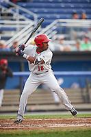 Auburn Doubledays third baseman Omar Meregildo (18) at bat during a game against the Batavia Muckdogs on July 6, 2017 at Dwyer Stadium in Batavia, New York.  Auburn defeated Batavia 4-3.  (Mike Janes/Four Seam Images)