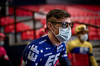 US champion Alex Howes (USA/EF Education - Nippo) during the team presentation inside the empty Spirou Basketbal Dome in Charleroi<br /> <br /> 85th La Flèche Wallonne 2021 (1.UWT)<br /> 1 day race from Charleroi to the Mur de Huy (BEL): 194km<br /> <br /> ©kramon