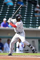 Surprise Saguaros outfielder Rusney Castillo (38) during an Arizona Fall League game against the Mesa Solar Sox on October 17, 2014 at Cubs Park in Mesa, Arizona.  Mesa defeated Mesa 5-3.  (Mike Janes/Four Seam Images)