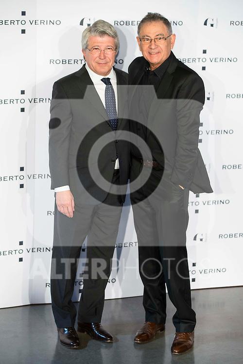 "Enrique Cerezo and Roberto Verino during the presentation of the new Spring-Summer collection ""Un Balcon al Mar"" of Roberto Verino at Platea in Madrid. March 16, 2016. (ALTERPHOTOS/Borja B.Hojas)"