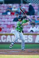 Eugene Emeralds designated hitter Luke Reynolds (4) at bat during a Northwest League game against the Salem-Keizer Volcanoes at Volcanoes Stadium on August 31, 2018 in Keizer, Oregon. The Eugene Emeralds defeated the Salem-Keizer Volcanoes by a score of 7-3. (Zachary Lucy/Four Seam Images)