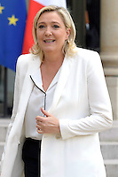 Paris (75),Le President de la Republique, Franeois HOLLANDE, recoit samedi 25 juin 2016 les representants des partis politiques francais au Palais de l Elysee. Front National Marine LE PEN