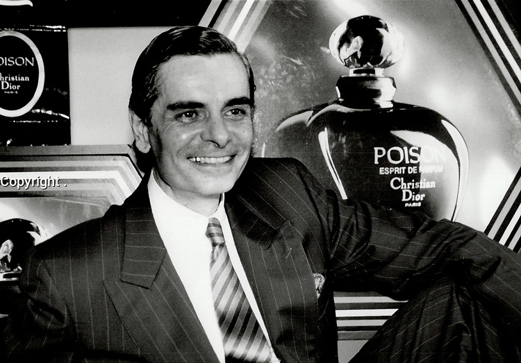 1986 FILE PHOTO - ARCHIVES -<br /> <br /> Celebrating success: Maurice Roger, president of Christian Dior International, in Toronto for the launch of the company's new fragrance, says Dior spent three years developing Poison, for which he chose the main ingredients.<br /> <br /> 1986<br /> <br /> PHOTO :  Erin Comb - Toronto Star Archives - AQP