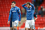 St Johnstone v Celtic...13.12.15  SPFL  McDiarmid Park, Perth<br /> Joe Shaughnessy and David Wotherspoon leave the pitch disappointed at full time<br /> Picture by Graeme Hart.<br /> Copyright Perthshire Picture Agency<br /> Tel: 01738 623350  Mobile: 07990 594431