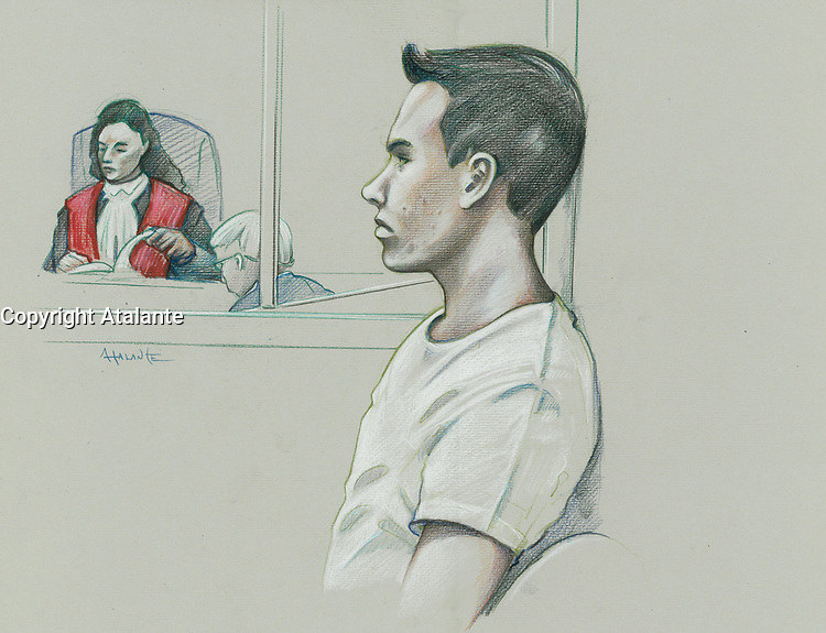 Montreal - CANADA - File images -  An artist's sketch shows Luka Rocco Magnotta appearing in court for his preliminary hearing in Montreall for the murder of Jin Li, March 11, 2013.<br /> <br /> It is one of the most grisly and sensational murder trials in Canadian history<br /> <br /> Image :  Agence Quebec Presse  - Atalante