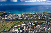 Aerial of Waikiki Beach, with the Ala Wai canal, Oahu