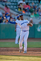 Sauryn Lao (3) of the Ogden Raptors during the game against the Orem Owlz at Lindquist Field on June 22, 2019 in Ogden, Utah. The Owlz defeated the Raptors 7-4. (Stephen Smith/Four Seam Images)