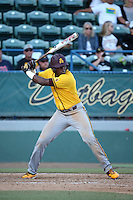 Daniel Williams (31) of the Arizona State Sun Devils bats against the Long Beach State Dirtbags at Blair Field on February 27, 2016 in Long Beach, California. Long Beach State defeated Arizona State, 5-2. (Larry Goren/Four Seam Images)