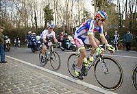 race leaders Geraint Thomas (GBR/SKY, out of frame), Peter Sagan (SVK/Tinkoff-Saxo) & Zdenek Stybar (CZE/Etixx-QuickStep) reach the top of the last climb of the day: Tiegemberg. <br /> <br /> 58th E3 Harelbeke 2015