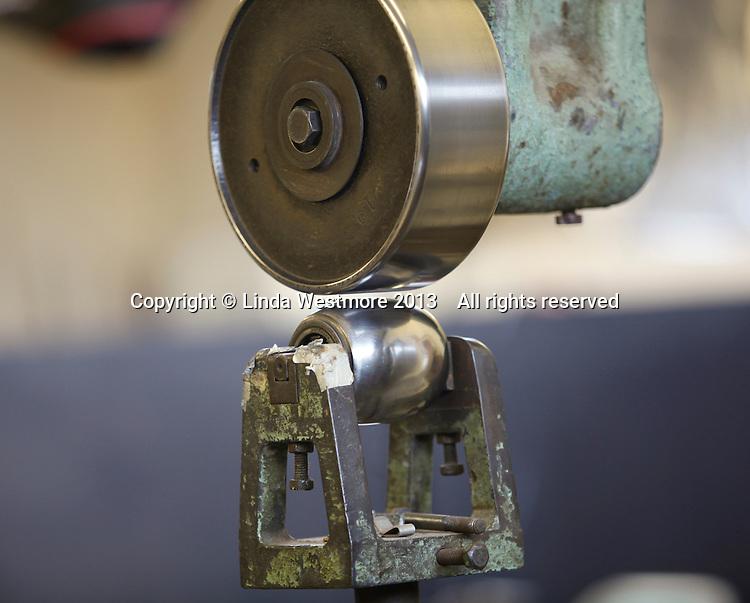 Ranalah Wheeling machine used to shape new panels for the resoration of a Jaguar XK 120.