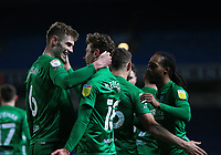 12th February 2021; Ewood Park, Blackburn, Lancashire, England; English Football League Championship Football, Blackburn Rovers versus Preston North End; Liam Lindsey of Preston North End celebrates with his team mates after beating Blackburn Rovers goalkeeper Thomas Kaminski with a close range header to give his side a 0-2 lead after 42 minutes