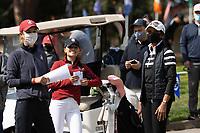 STANFORD, CA - APRIL 24: Anne Walker, Aline Krauter, Condoleezza Rice at Stanford Golf Course on April 24, 2021 in Stanford, California.
