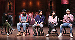 """Johanna Moise, Deon'te Goodman, Marc delaCruz, Gabriella Sorrentino and Terrance Spencer during the Q & A before The Rockefeller Foundation and The Gilder Lehrman Institute of American History sponsored High School student #EduHam matinee performance of """"Hamilton"""" at the Richard Rodgers Theatre on 4/03/2019 in New York City."""