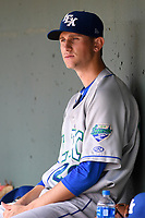 Starting pitcher Jackson Kowar (29) of the Lexington Legends waits in the dugout during a game against the Greenville Drive on Tuesday, July 17, 2018, at Fluor Field at the West End in Greenville, South Carolina. Kowar is the Kansas City Royals' First-Round pick in the 2018 First-Year Player Draft. Lexington won, 10-3. (Tom Priddy/Four Seam Images)