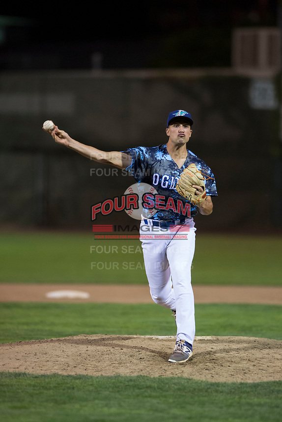 Ogden Raptors relief pitcher Reza Aleaziz (43) delivers a pitch during a Pioneer League game against the Billings Mustangs at Lindquist Field on August 17, 2018 in Ogden, Utah. The Billings Mustangs defeated the Ogden Raptors by a score of 6-3. (Zachary Lucy/Four Seam Images)