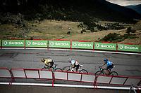 Primoz Roglic (SVK/Jumbo-Visma), World Champion Alejandro Valverde (ESP/Movistar) & Marc Soler (ESP/Movistar) fight it out for 3rd place with 300m to go<br /> <br /> Stage 9: Andorra la Vella to Cortals d'Encamp (94km) - ANDORRA<br /> La Vuelta 2019<br /> <br /> ©kramon