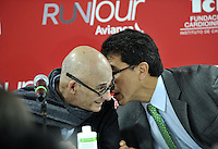 BOGOTA - COLOMBIA - 10-02-2016: Alvaro Jaramillo Buitrago (Izq.) Presidente (E) de Avianca dialoga con Ciro Solano (Der.) Vicepresidente Federacion Colombiana de Atletismo, durante presentación de Avianca RunTour 2016. .  La Aerolinea Avianca por cuarto  año consecutivo  organiza el RunTour, a beneficio de los niños de la Unidad Especializada de Cuidados Intensivos Cardiovascular Pedriatica  de la Fundacion CardioInfantil,  que se disputara el el domingo 6 de marzo en una distancia de (6.2 M) 10 Kilometros.     / Alvaro Jaramillo Buitrago (L) Presidente  (E) of  Avianca speaks with Ciro Solano (R) Vice President of Federacion Colombiana  Athletics, durind the presentation of the Avianca RuTour 2016. The Aeroline Avianca organizes for the fourth consecutive year the RunTour, to benefit the children of the Specialized Cardiovascular Intensive Care Unit Pedriatica Cardioinfantil Foundation, which will be played on Sunday March 6 at a distance of (6.2 M) 10 Kilometers. Photos: VizzorImage / Luis Ramirez / Staff.