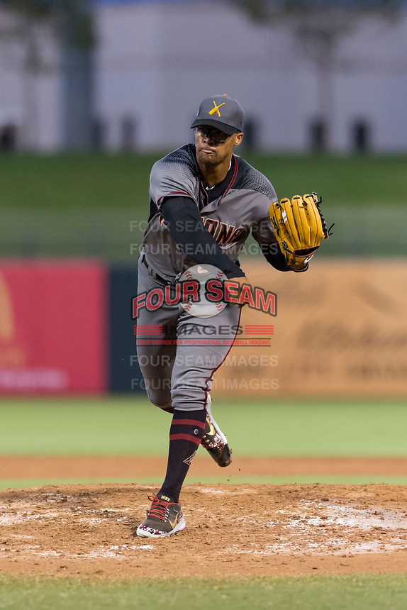 AFL East relief pitcher Jon Duplantier (31), of the Salt River Rafters and the Arizona Diamondbacks organization, follows through on his delivery during the Arizona Fall League Fall Stars game at Surprise Stadium on November 3, 2018 in Surprise, Arizona. The AFL West defeated the AFL East 7-6 . (Zachary Lucy/Four Seam Images)