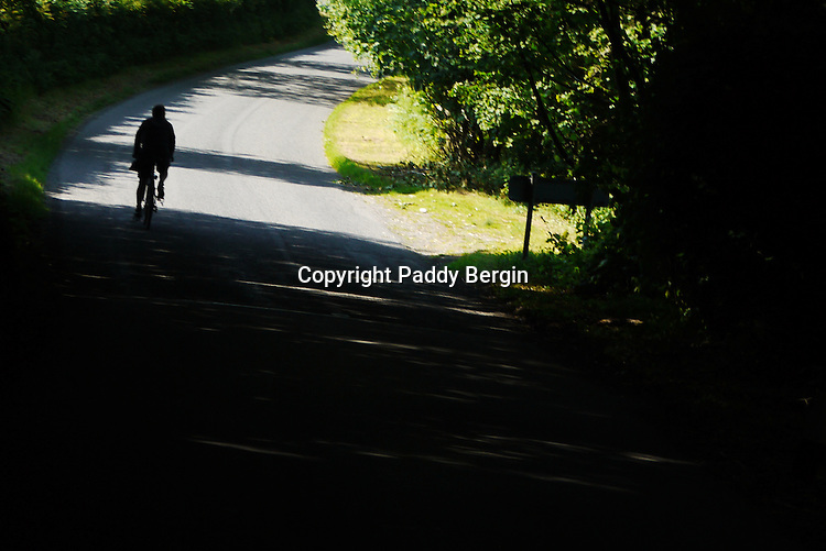 Cycle ride on a summers day in Trawscoed, Ceredigion, West Wales. This cycle path is following the river and goes through beautiful landscapes.<br /> <br /> Stock Photo by Paddy Bergin