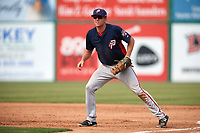 Potomac Nationals first baseman Ian Sagdal (1) during the first game of a doubleheader against the Lynchburg Hillcats on June 9, 2018 at Calvin Falwell Field in Lynchburg, Virginia.  Lynchburg defeated Potomac 5-3.  (Mike Janes/Four Seam Images)