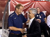 USMNT head coach Jurgen Klinsmann shakes hands with US Soccer Federation President Sunil Gulati before the game at Lincoln Financial Field in Philadelphia, PA. The USMNT tied Mexico, 1-1.