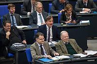 """15. Sitzung des Bundestages am Freitag den 23. Februar 2018.<br /> Im Bild: Fraktion der rechtsnationalistischen """"Alternative fuer Deutschland"""" (AfD). Bernd Baumann (Bildmitte), Parlamentarischer Geschaeftsfuehrer der AfD bei einem empoerten Zwischenruf in der aktuellen Stunde auf Antrag von Buendnis 90/Die Gruenen zum Thema """"Demokratie/Erinnerungskultur angesichts rechtsextremistischer Angriffe"""".<br /> 23.2.2018, Berlin<br /> Copyright: Christian-Ditsch.de<br /> [Inhaltsveraendernde Manipulation des Fotos nur nach ausdruecklicher Genehmigung des Fotografen. Vereinbarungen ueber Abtretung von Persoenlichkeitsrechten/Model Release der abgebildeten Person/Personen liegen nicht vor. NO MODEL RELEASE! Nur fuer Redaktionelle Zwecke. Don't publish without copyright Christian-Ditsch.de, Veroeffentlichung nur mit Fotografennennung, sowie gegen Honorar, MwSt. und Beleg. Konto: I N G - D i B a, IBAN DE58500105175400192269, BIC INGDDEFFXXX, Kontakt: post@christian-ditsch.de<br /> Bei der Bearbeitung der Dateiinformationen darf die Urheberkennzeichnung in den EXIF- und  IPTC-Daten nicht entfernt werden, diese sind in digitalen Medien nach §95c UrhG rechtlich geschuetzt. Der Urhebervermerk wird gemaess §13 UrhG verlangt.]"""