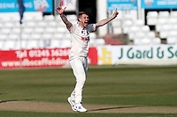Jamie Porter of Essex claims the wicket of Alex Lees during Essex CCC vs Durham CCC, LV Insurance County Championship Group 1 Cricket at The Cloudfm County Ground on 17th April 2021