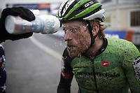 Stephen Hyde (USA/Cannondale-cyclocrossworld) getting a 'shower' from Jeremy Powers post-race<br /> <br /> Grand Prix Adrie van der Poel, Hoogerheide 2016<br /> UCI CX World Cup