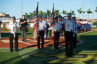 General view of the flag presentation during the national anthem before a Bradenton Marauders game against the Fort Myers Miracle on April 9, 2016 at McKechnie Field in Bradenton, Florida.  Fort Myers defeated Bradenton 5-1.  (Mike Janes/Four Seam Images)