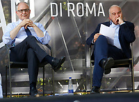 The candidates mayor of Rome at the next elections, Roberto Gualtieri and Enrico Michetti during a confrontation at the Acquario Romano, during the 'Festival del'Architettura'.<br /> Rome (Italy), July 29th 2021<br /> Photo Samantha Zucchi Insidefoto