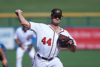 Mesa Solar Sox relief pitcher Austen Williams (44), of the Washington Nationals organization, delivers a pitch to the plate during an Arizona Fall League game against the Peoria Javelinas on October 25, 2017 at Sloan Park in Mesa, Arizona. The Solar Sox defeated the Javelinas 6-3. (Zachary Lucy/Four Seam Images)