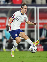 NASHVILLE, TN - SEPTEMBER 5: Brenden Aaronson #11 of the United States passes off the ball during a game between Canada and USMNT at Nissan Stadium on September 5, 2021 in Nashville, Tennessee.