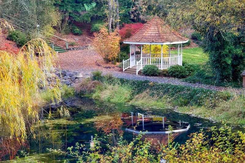 Gazebo and small pond. Near Silverton, Oregon