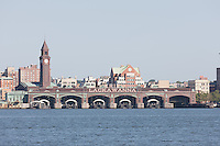 The Erie Lackawanna Terminal and Clock Tower, Hoboken, New Jersey, seen across the Hudson River from New York City.
