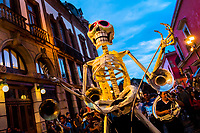 A giant Calaca figure, a Mexican icon representing the deceased, is carried on the street during the Day of the Dead celebrations in Oaxaca, Mexico, 30 October 2019. Day of the Dead (Día de Muertos), a religious holiday combining the death veneration rituals of Pre-Hispanic cultures with the Catholic practice, is widely celebrated throughout all of Mexico. Based on the belief that the souls of the departed may come back to this world on that day, people gather together while either praying or joyfully eating, drinking, and playing music, to remember friends or family members who have died and to support their souls on the spiritual journey.
