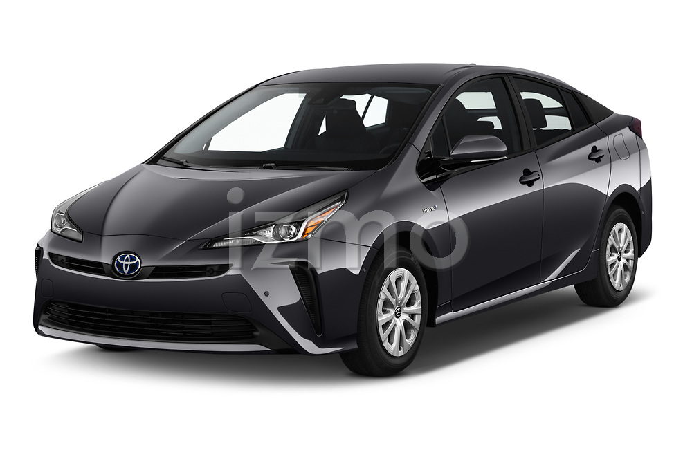 2019 Toyota Prius LE 5 Door Hatchback Angular Front stock photos of front three quarter view