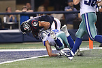 Houston Texans wide receiver Andy Cruse (12) and Dallas Cowboys defensive back Jeff Heath (38) in action during the pre-season game between the Houston Texans and the Dallas Cowboys at the AT & T stadium in Arlington, Texas. Houston defeats Dallas 24 to 6.