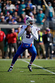 Buffalo Bills quarterback Tyrod Taylor (5) drops back to pass during an NFL Wild-Card football game against the Jacksonville Jaguars, Sunday, January 7, 2018, in Jacksonville, Fla.  (Mike Janes Photography)