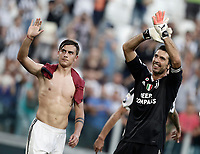 Calcio, Serie A: Torino, Allianz Stadium, 19 agosto 2017. <br /> Juventus' Paulo Dybala (l) and Gianluigi Buffon (r) celebrates at the end of the Italian Serie A football match between Juventus and Cagliari at Torino's Allianz Stadium, August 19, 2017.<br /> UPDATE IMAGES PRESS/Isabella Bonotto