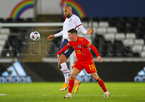12th November 2020; Liberty Stadium, Swansea, Glamorgan, Wales; International Football Friendly; Wales versus United States of America; John Brooks of USA and Harry Wilson of Wales challenge for the ball