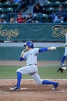 Ryan Clark (13) of the UC Santa Barbara Gauchos bats against the Cal State Long Beach Dirtbags at Blair Field on April 1, 2016 in Long Beach, California. UC Santa Barbara defeated Cal State Long Beach, 4-3. (Larry Goren/Four Seam Images)