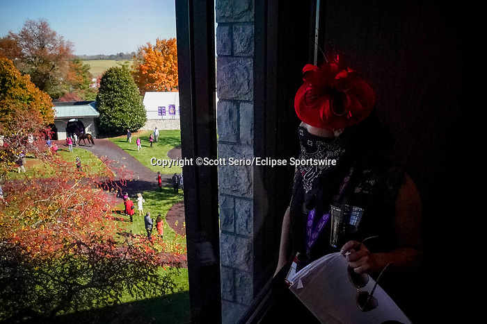 November 6, 2020: An attendee watches as horses are walked through the paddock at Keeneland Racetrack in Lexington, Kentucky, on Friday, November 6, 2020. Scott Serio/Eclipse Sportswire/Breeders Cup/CSM