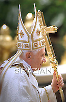 Pope Benedict XVI celebrates the Holy Thursday Chrismal Mass as part of the Holy week on April 21, 2011 at St Peter's Basilica at the Vatican. Pope Benedict XVI will also celebrate later in the day the Mass of the Lord's supper.