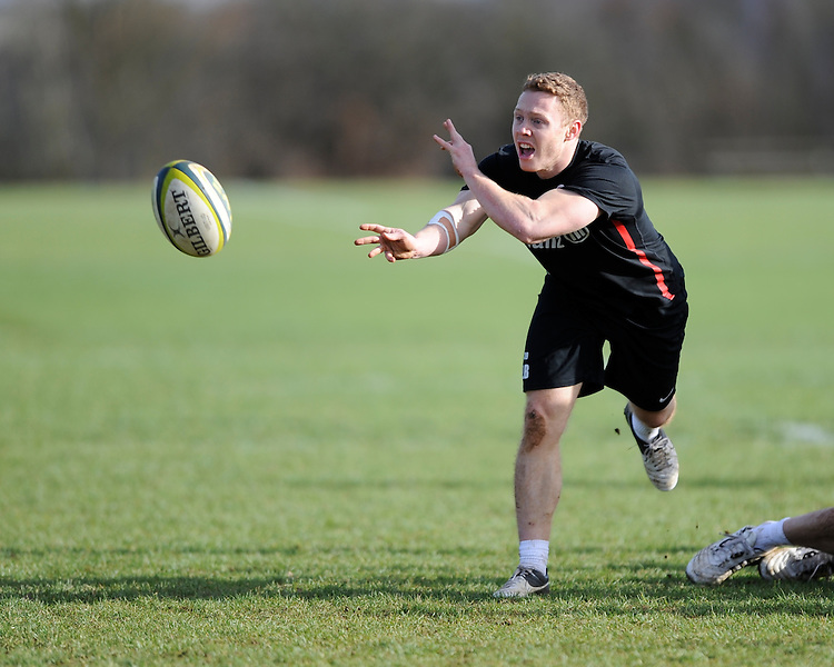 20130131 Copyright onEdition 2013©.Free for editorial use image, please credit: onEdition..Luke Baldwin during the Saracens Captains Run at Old Albanians Rugby Club, St Albans on Thursday 31st January 2013 (Photo by Rob Munro)..For press contacts contact: Sam Feasey at brandRapport on M: +44 (0)7717 757114 E: SFeasey@brand-rapport.com..If you require a higher resolution image or you have any other onEdition photographic enquiries, please contact onEdition on 0845 900 2 900 or email info@onEdition.com.This image is copyright onEdition 2013©..This image has been supplied by onEdition and must be credited onEdition. The author is asserting his full Moral rights in relation to the publication of this image. Rights for onward transmission of any image or file is not granted or implied. Changing or deleting Copyright information is illegal as specified in the Copyright, Design and Patents Act 1988. If you are in any way unsure of your right to publish this image please contact onEdition on 0845 900 2 900 or email info@onEdition.com